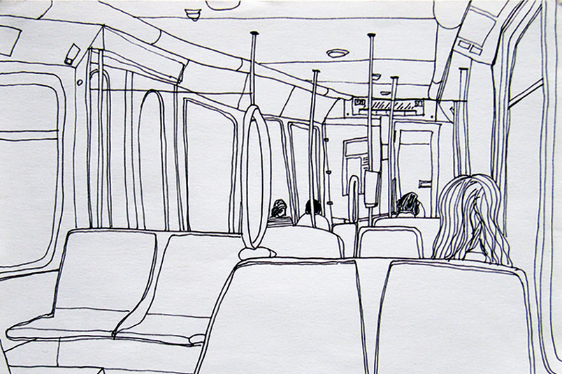 Bleiststiftskizze einer Straßenbahnfahrt
