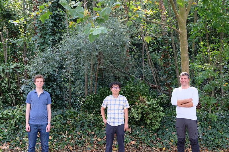 Drei Forscher vor Gebüsch