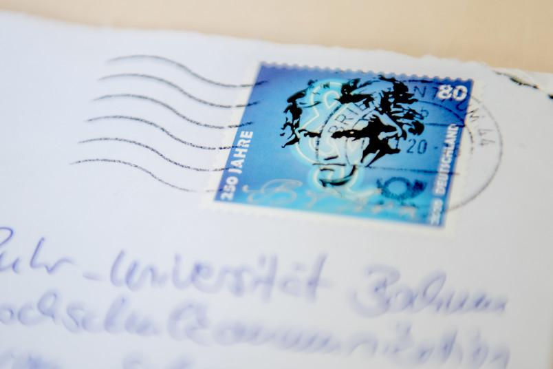 Gebrauchte Briefmarke auf Dienstpost an der RUB