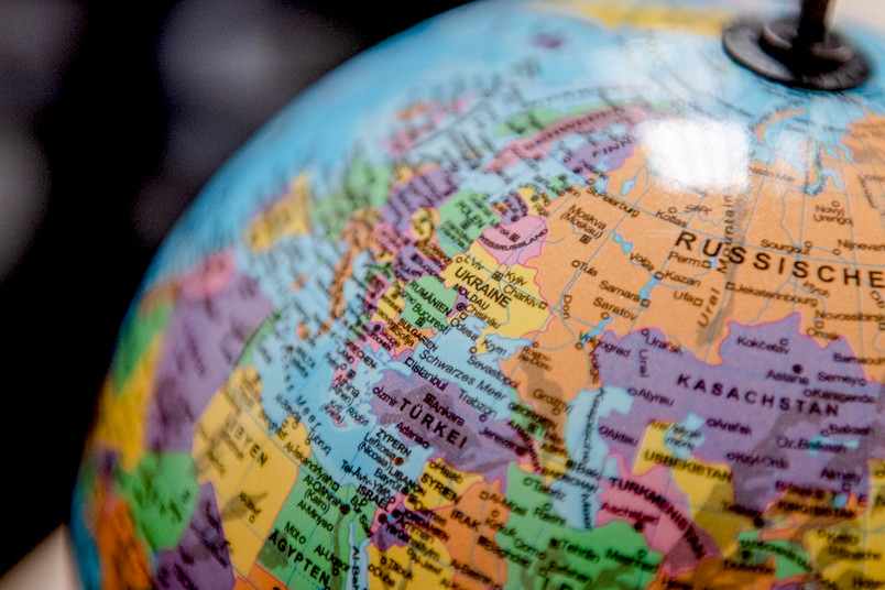 Globus mit Fokus Osteuropa