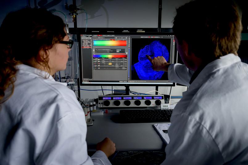 Zwei Forscher am Computer