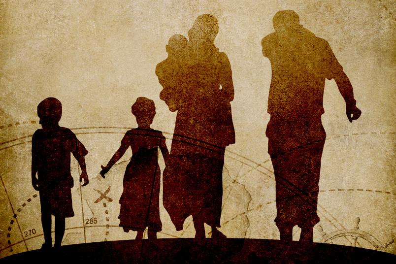 Schattenumriss einer flüchtenden Familie.