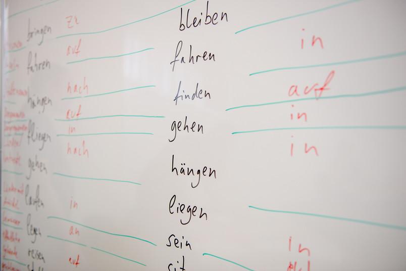 Tafel mit deutschen Vokabeln