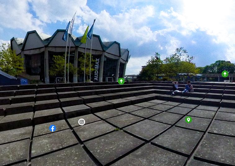 <div> Die 360-Grad-Sicht verschafft allen virtuellen Besuchern den Campusdurchblick.</div>