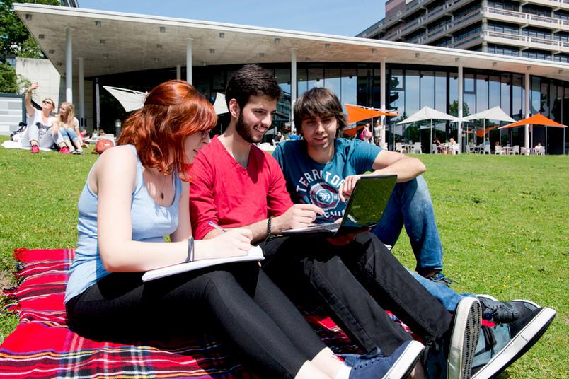 Drei Studierende sitzen auf einer Wiese und blicken auf einen Laptop.