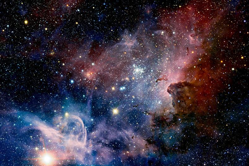 Sterne und bunte Gaswolken