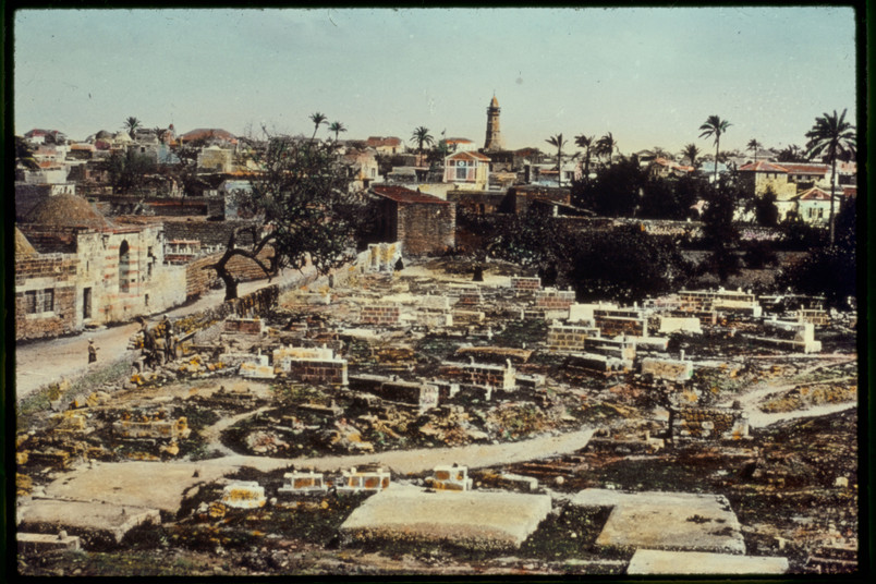 Gaza im Jahre 1900, Bauarbeiter errichten eine Mauer