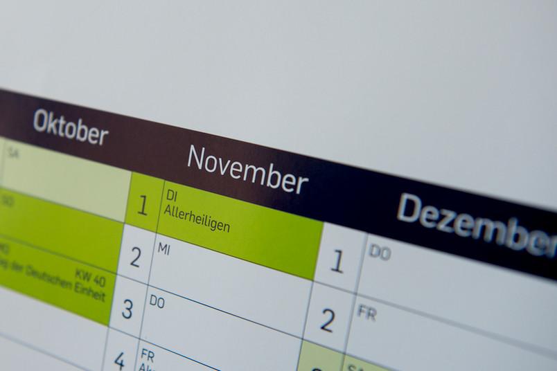 Jahresplaner mit dem Monat November