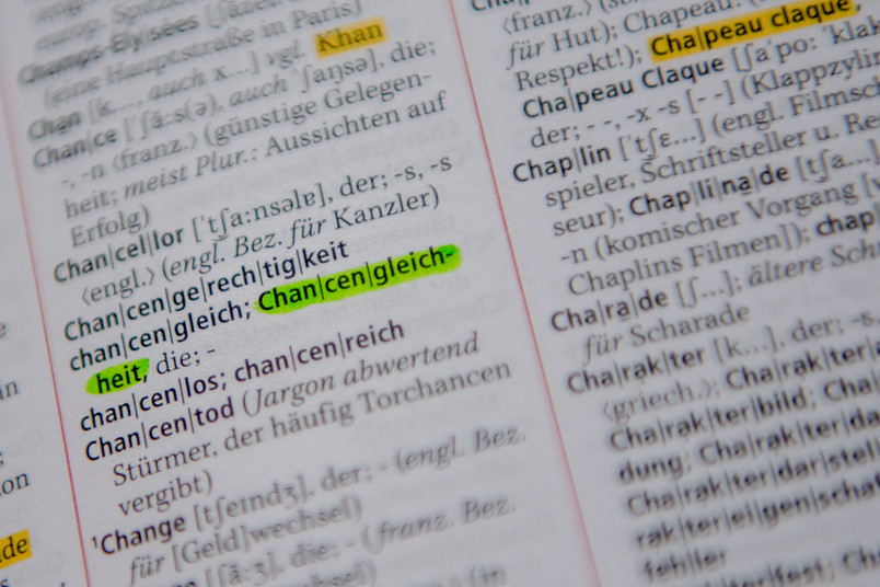 Wörterbucheintrag als Stellvertreterbild für Chancengleichheit an der RUB