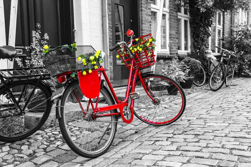Ein rotes Fahrrad steht vor einem schwarz-weißen Hauseingang.