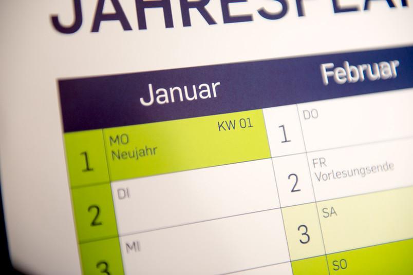 Wandkalender mit dem Monat Januar