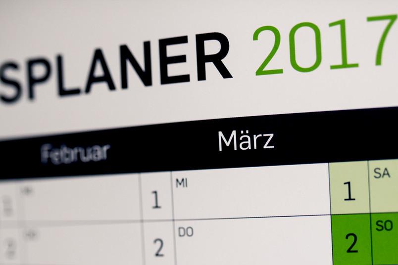 Monat März auf dem Jahresplaner 2017