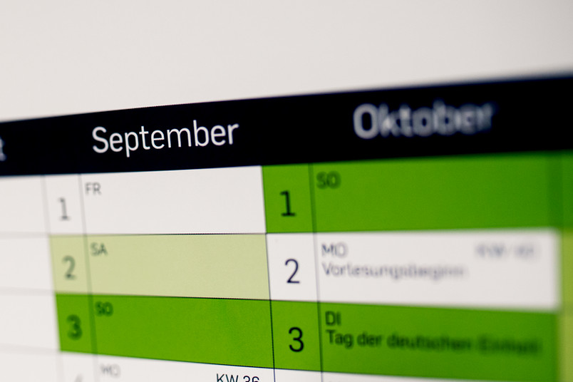 Wandkalender mit dem Monat September