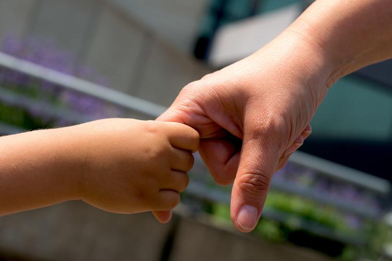 Eine Kinderhand hält eine Erwachsenenhand