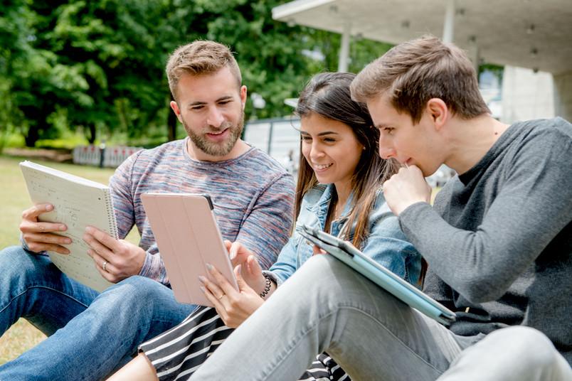 Studierende sitzen auf einer Wiese.