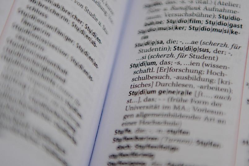 im Duden ist die Erklärung des Wortes Studium zu sehen