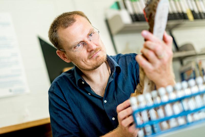 Sebastian Breitenbach schaut einen Tropfstein an